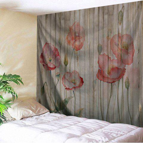 New Flowers Woodgrain Print Tapestry Wall Hanging Art Decoration