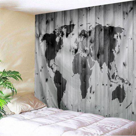 Black grey w59 inch l51 inch world map on wood board print shops world map on wood board print tapestry wall hanging art decor gumiabroncs Gallery