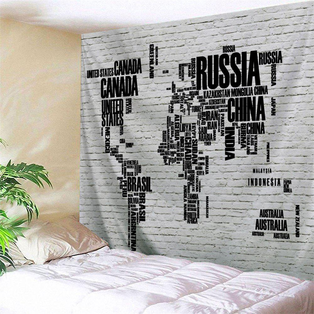 Colormix w79 inch l71 inch world map brick wall letter print shop world map brick wall letter print tapestry gumiabroncs Gallery
