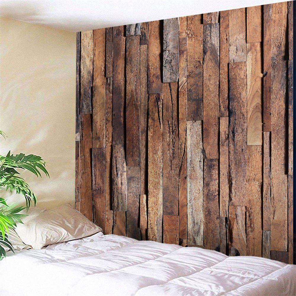 Online Uneven Wooden Board Print Tapestry Wall Hanging Art Decor
