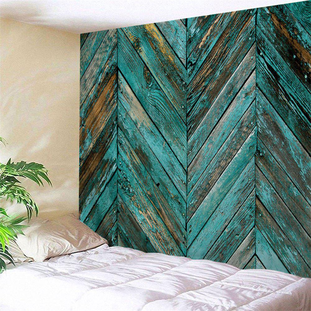 Online Retro Wooden Board Print Tapestry Wall Hanging Art Decoration
