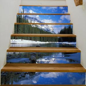 Snowberg Pine Trees River Pattern Stair Stickers -
