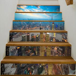 City at Dusk Pattern Stair Stickers -