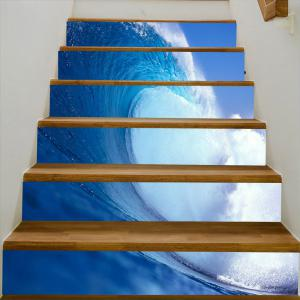 Autocollants d'escalier décoratifs Sea Wave Pattern -