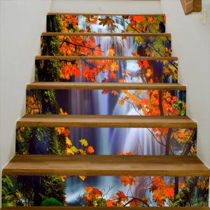 Waterfall Maple Leaf Pattern Decorative Stair Stickers -