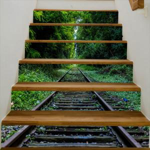Rail In The Forest Pattern Decorative Stair Stickers -