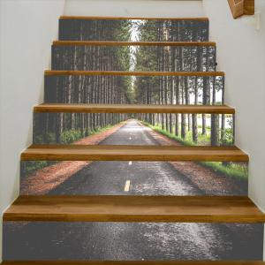 Highway In The Forest Pattern Decorative Stair Stickers -