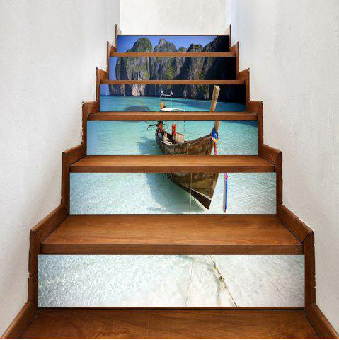 Discount Beach Boat Pattern Decorative Stair Stickers