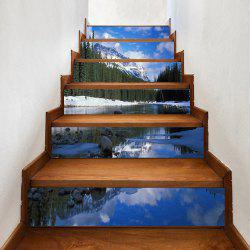 Autocollants d'escalier Snowwood Pine Trees River -
