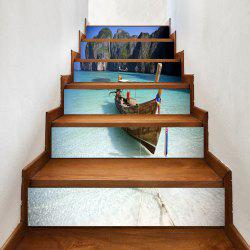 Beach Boat Pattern Decorative Stair Stickers -