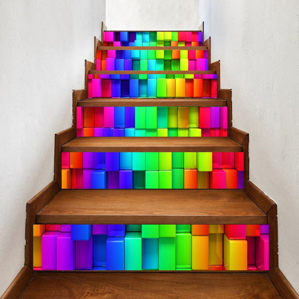 Unique Colorful Uneven Brick Pattern Decorative Stair Stickers