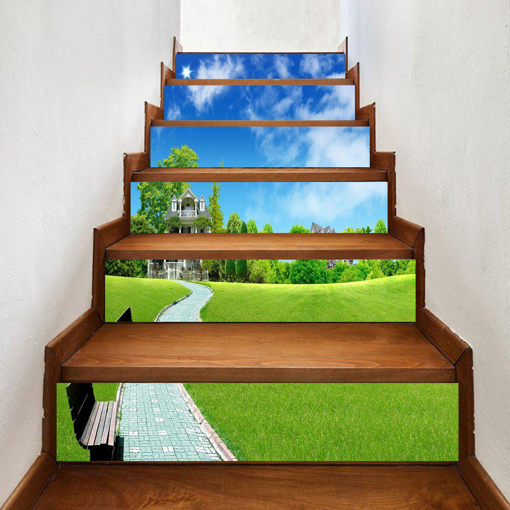 Cheap Greensward Sky Walkway Pattern Decorative Stair Stickers