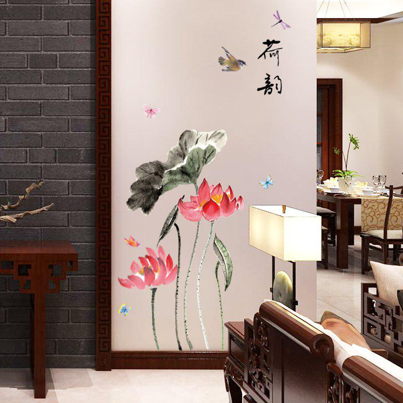 2019 3d Wall Stickers Peel And Stick Wallpaper Chinese Style Lotus