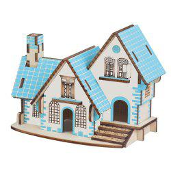 Blue Cabin 3D Wood Model DIY Puzzle Gift for Kids -