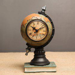 Retro Globe Shaped Craft Clock Desk Ornament -