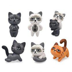 Moss Micro Landscape DIY Craft Angry Cat PVC Ornament 6pcs -