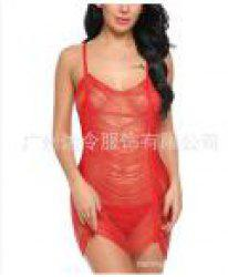 Women Sexy See-Through Rringe Babydoll Lingeries Sleepdress -