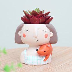 Cartoon Wreath Girl Resin Flowerpot Micro Landscape Succulent Plant Pot -