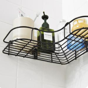 Punch-free Iron Storage Rack Tripod Adhesive Corner Shelf -