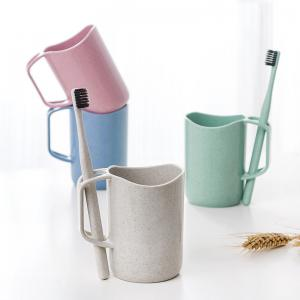 Wheat Fiber Portable Tooth Mug with Toothbrush Holder -