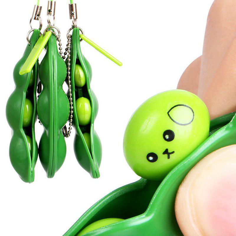 Fancy Squeeze-a-bean Pendant Keychain Stress Fidget Relieving Extrusion Toy 1pc