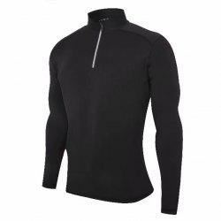 Men's No Breaks 1/4 Zip Long Sleeve Running Shirt Under Base Layers Top -