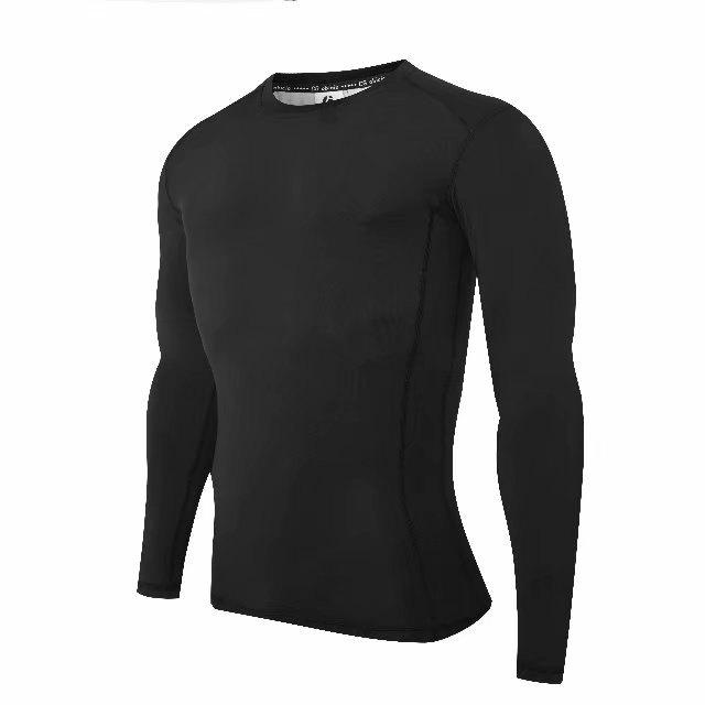 Chic Compression T-Shirt Men Tight Jersey Fitness Sport Suit Gym Blouse Running Shirt Black Bodybuilding Sportswear Lshen  502