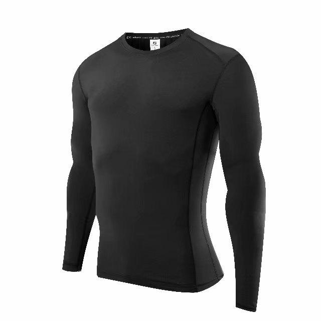 Fashion Compression T-Shirt Men Tight Jersey Fitness Sport Suit Gym Blouse Running Shirt Black Bodybuilding Sportswear Lshen504