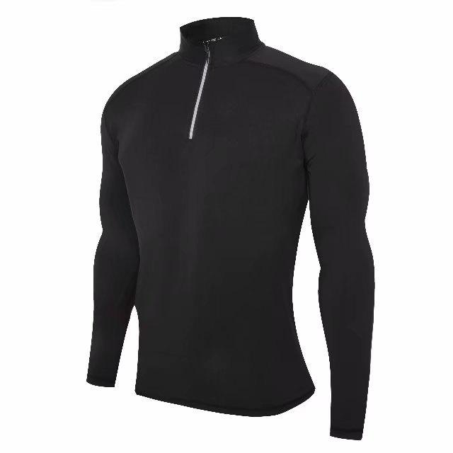 Trendy Men's No Breaks 1/4 Zip Long Sleeve Running Shirt Under Base Layers Top