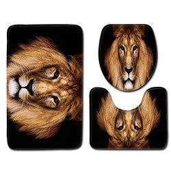Animal Lion Printing Toilet Seat Cover Bathroom Mat 3pcs -