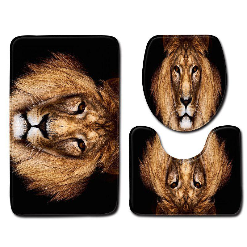 Shop Animal Lion Printing Toilet Seat Cover Bathroom Mat 3pcs