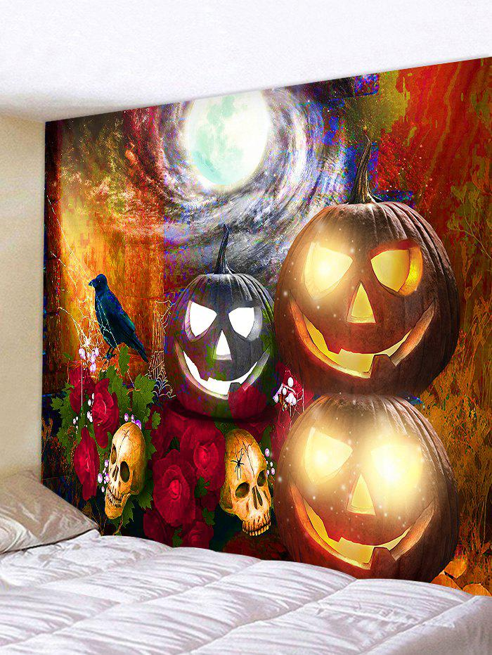 Discount Halloween Pumpkin Rose Print Decorative Wall Tapestry