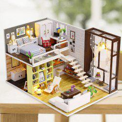 DIY Wooden Dollhouse Miniature Product with Lamp -