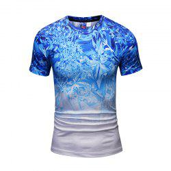 Stylish Gradient Color Snowflake Printed Men Short Sleeve Shirt -