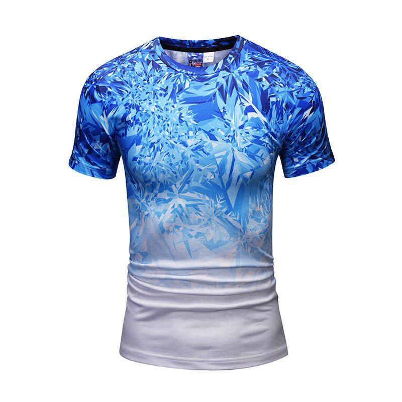Online Stylish Gradient Color Snowflake Printed Men Short Sleeve Shirt