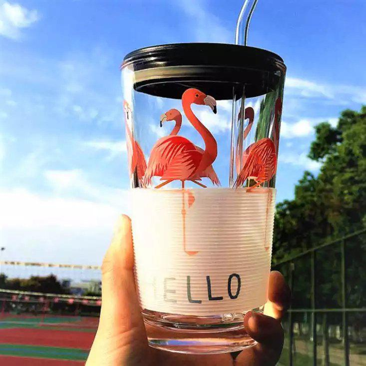 Cheap Flamingo Milk Tea Scale Cup Glass Water Bottle