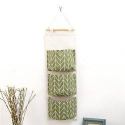 Creative Large Capacity 3-layer Cotton Linen Wall Hanging Storage Bag -