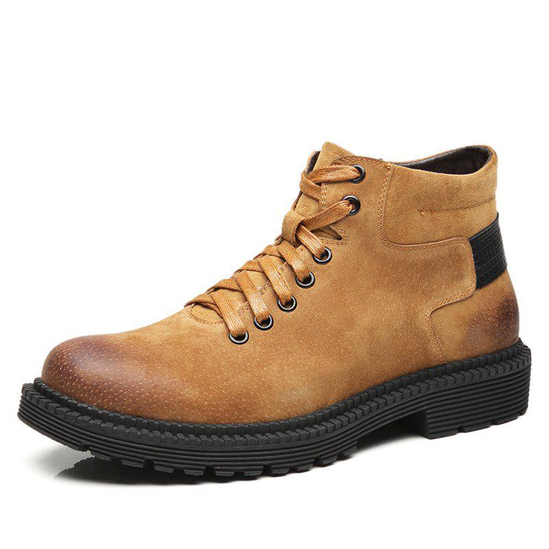 Shop Stylish Solid Color Leather Martin Boots