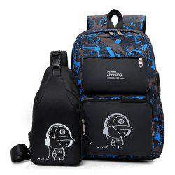 Fashion Business Smart USB Recharge Backpack Chest Bag Set -