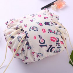 Lazy Drawstring Round Cosmetic Storage Bag -