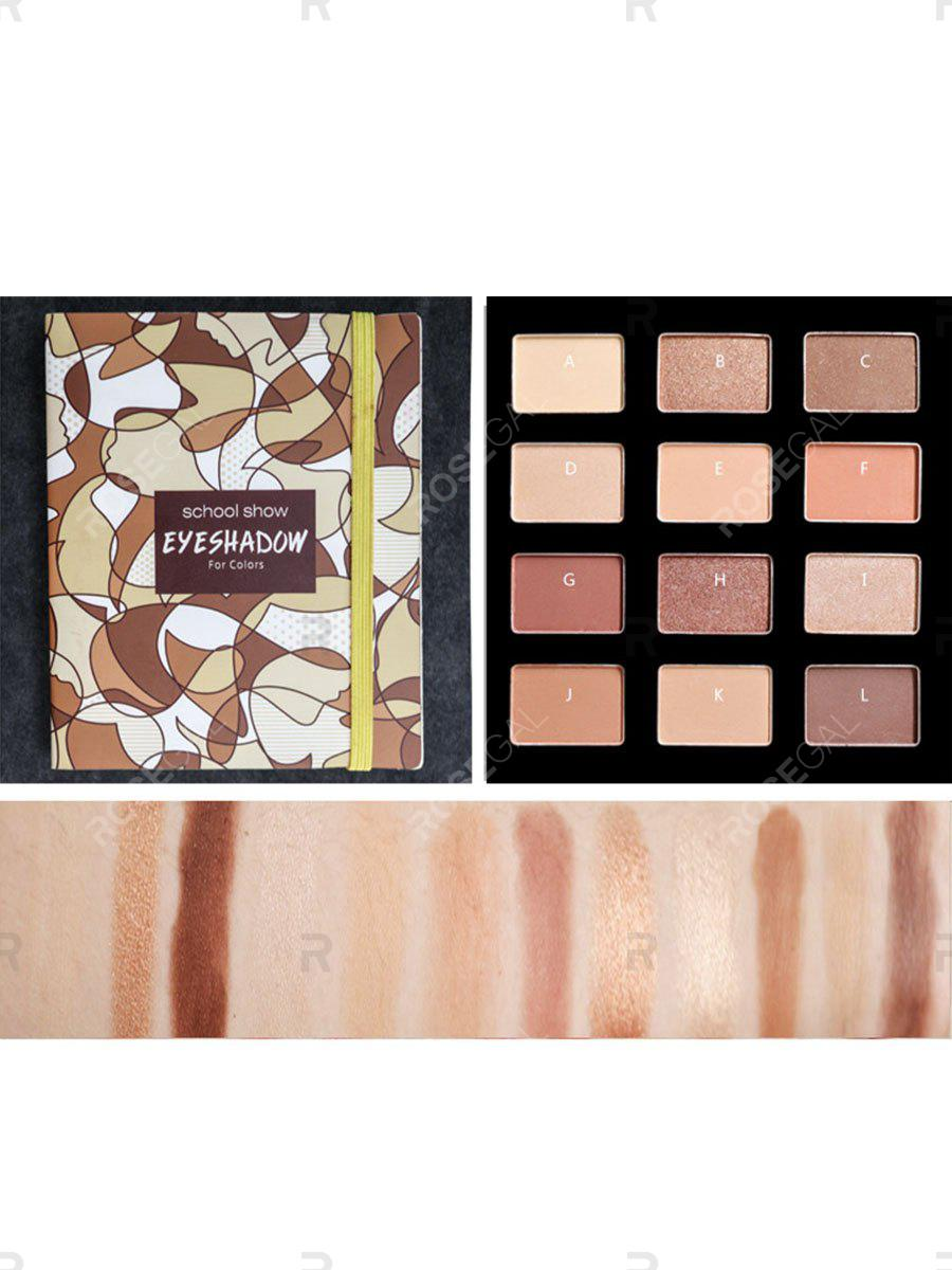 Fashion Shimmer Eyeshadow Palette Naked Makeup Waterproof Matte Eye Shadow Glitter Gold Nude 12 Color