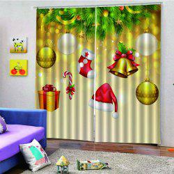 2PCS Christmas Bells Hat Stocking Window Curtains -