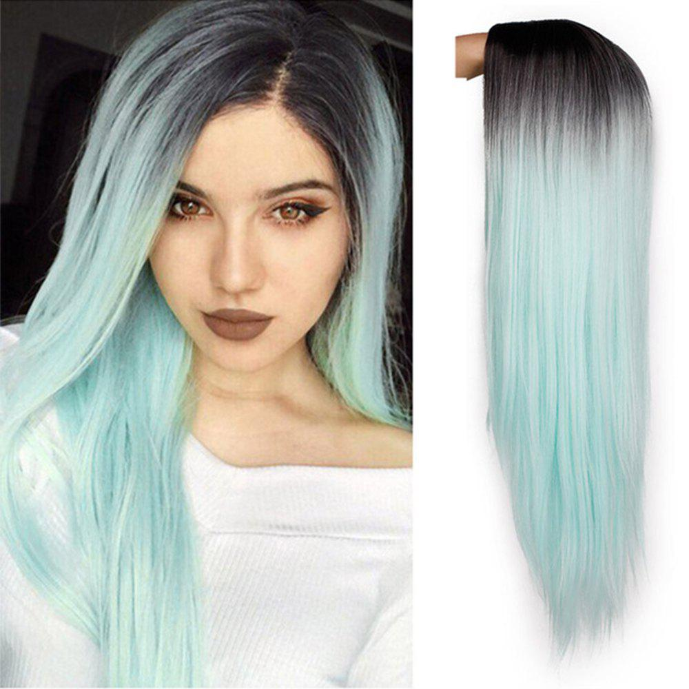 New Orgshine 24inch Middle Part Long Straight Black Blue Ombre Wig Synthetic Hair  Wigs-HG209