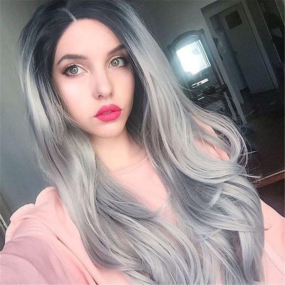 Outfits Orgshine 26inch Middle Part Long Body Wave Black Grey Ombre Wig Synthetic Hair  Wigs -HG203