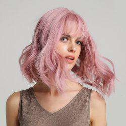 Short Pink Wavy Synthetic Wig with Bang Purple Wave Wig Cosplay Wig 6-LY210 -