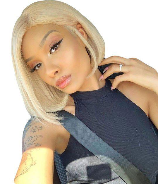 Unique Orgshine Bob Style Blonde Straight Lace Front Synthetic Wig 10inch  Side Part