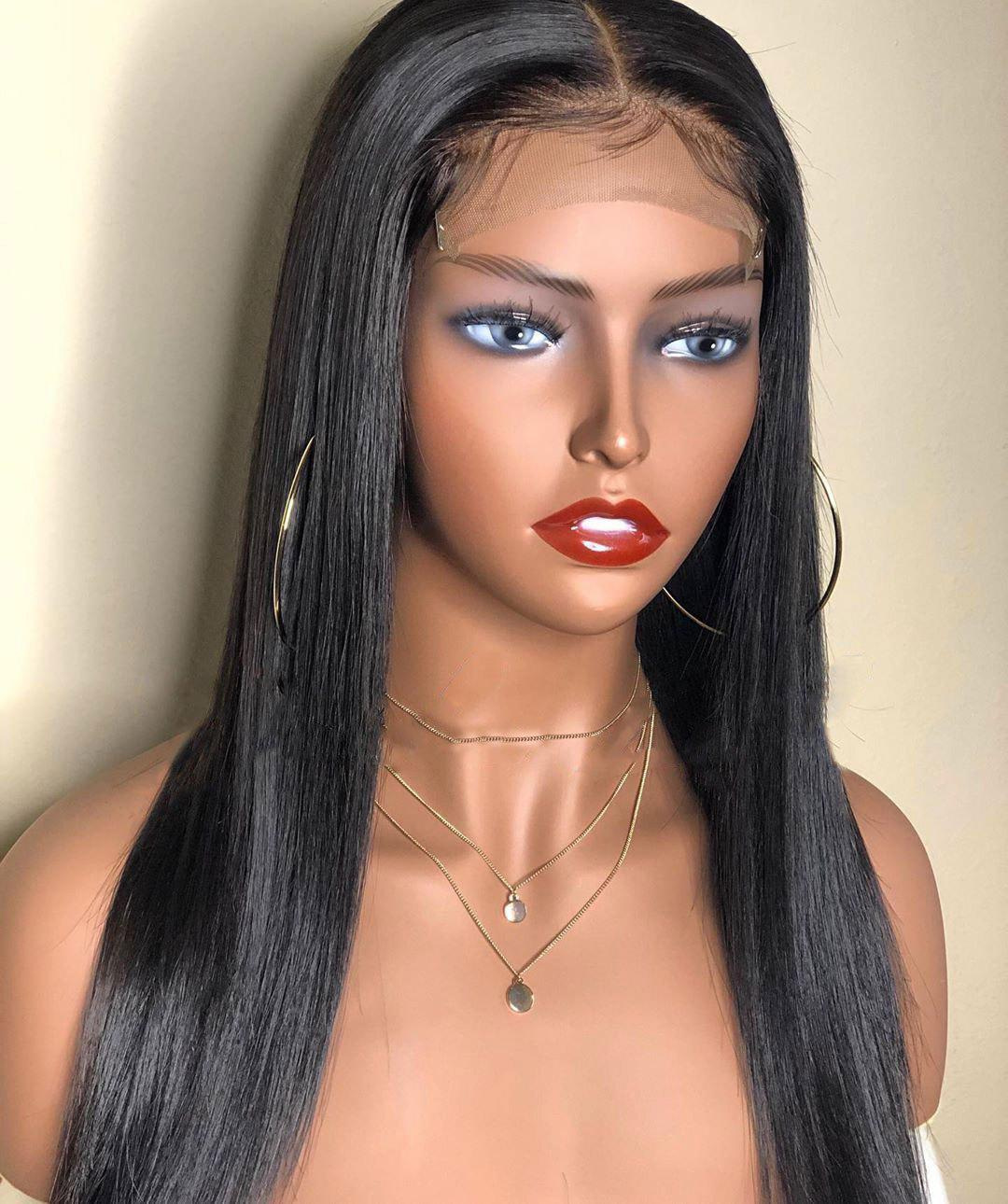 Trendy Orgshine Long Straight Black Color Synthetic Wigs Middle Part Wig 24inch
