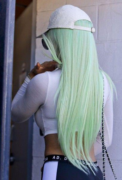 Discount Halloween Ombre Green Synthetic Straight Wig 24 inch