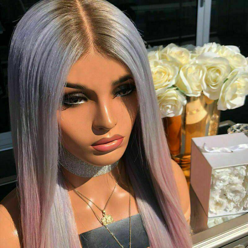Shop Halloween Ombre Purple Pink Synthetic Straight Wig 24 inch