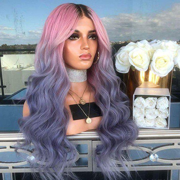Store Halloween Ombre Pink Purple Blue Synthetic Wavy Wig 24 inch